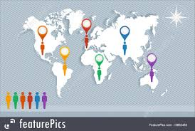 Map Geo World Map Geo Pointers And Men Figures Eps10 Vector File