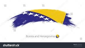 Flag Of Bosnia Flag Bosnia Herzegovina Rounded Grunge Brush Stock Vector