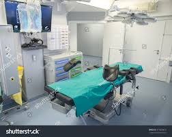 surgery room operation bed modern equipment stock photo 377023810