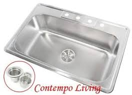 Top Kitchen Sink 33 X 22 X 9 Top Mount Drop In Stainless Steel Single Bowl