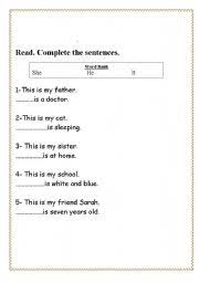 english teaching worksheets he she