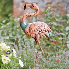 pink metal flamingo lawn ornament statue garden pond feature