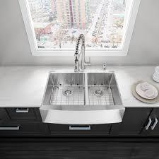VIGO Alma  Inch Farmhouse Apron  Double Bowl  Gauge - Farmhouse double bowl kitchen sink