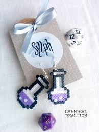 chemist earrings beautiful light purple chemical reaction earrings in 8bit retro