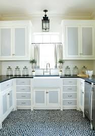 Grey And White Kitchen Curtains by Cabinet Curtain Pinterest Cabinet Doors Black Countertops Gray