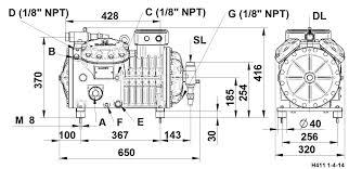 4 cylinder semi hermetic compressor series h h41 dorin