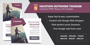 vacation outdoors tourism html5 banner ad templates by infiniweb