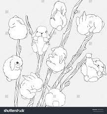 set tall willow sprays cute stock vector 549522850