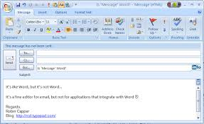 Microsoft Office Outlook Help Desk Microsoft Office Outlook 2007 Message Editor It S Word But It S