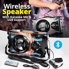 bison wireless bluetooth speaker with karaoke mic usb support bs