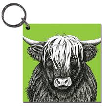 highland cow wooden keyring perkins and morley shop