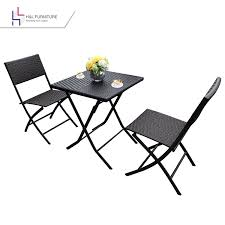Wicker Bistro Table And Chairs Amazon Com H U0026l Patio Resin Rattan Steel Folding Bistro Set Parma
