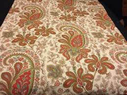 pottery barn charlie paisley fabric shower curtain red beige