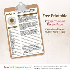 free printable recipe pages coffee themed free printable blank recipe page free printables online