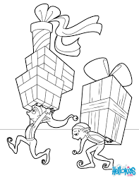 elves distributing gifts coloring pages hellokids com