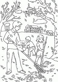 fall clean leaves coloring pages for kids season autumn
