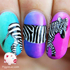 piggieluv zebra nail art on neon gradient