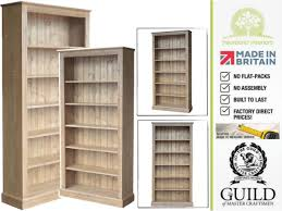 display shelving 6ft x 3ft bookcase in solid pine or oak waxed