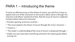sample theme essay essay theme how to answer the mark essay question of mice and men of mice and men national essay theme racism ppt para 1 introducing the theme to write
