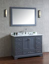 48 bathroom mirror anele 48 inch gray bathroom vanity with mirror carrara white marble top