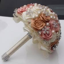 silk bridal bouquet ivory color accept custom brooch silk bridal wedding