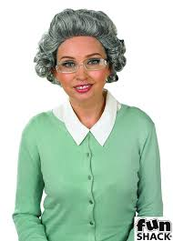 fun shack granny wig with glasses funshack amazon co uk