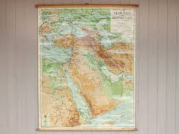 Vintage World Map Canvas by Vintage Canvas Middle East Wall Map Sold Scaramanga