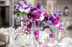 Purple Centerpieces Real Wedding With Purple Modern Details In New Jersey Inside