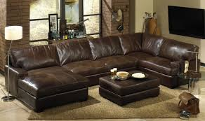 Letter Furniture Living Room Distressed Brown Leather Sectional With Letter U