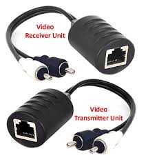 2 channel composite rca video balun extender over cat5 cat5e cat6