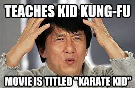 Kung Fu Meme - teaches kid kung fu movie is titled karate kid epic jackie chan