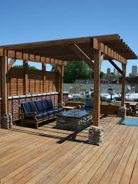 Linear Fire Pit by The Contemporary Cedar Pergola Provides Some Shade In The Summer