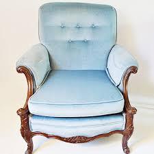 Blue Velvet Wingback Chair Blue Velvet Chippendale Style Wingback Chair Ebth