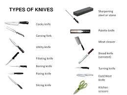 different kinds of kitchen knives kitchen knife names