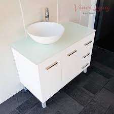 alto 1000mm freestanding bathroom vanity unit white glass top click