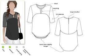 shirt pattern cutting pdf another interesting top from stylearc on trend top with open neck