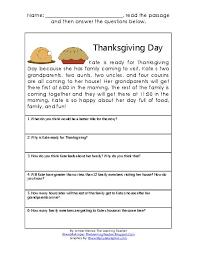 thanksgiving reading comprehension worksheets jannatulduniya