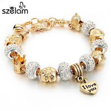 crystal snake bracelet images Szelam 2017 gold charm bracelets for women snake chain heart jpg