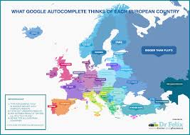 European Countries Map What Google Autocomplete Says About Europe Infographic
