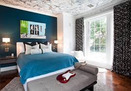 Blue Feature Wall In Bedroom Amusing Design Boys Bedroom Color Ideas Comes With Orange Blue