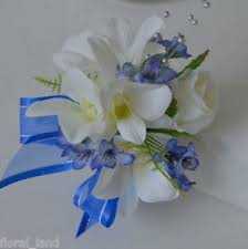 White Rose Wrist Corsage Silk Wedding Flower Cream Singapore Orchid White Rose Blue Gyp