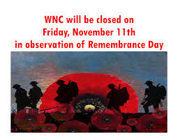 remembrance day closure waterfront neighbourhood centre