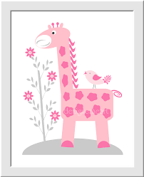 Pink Elephant Nursery Decor Baby Nursery Wall Pink Gray Elephant Giraffe Big