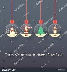 santa claus snowman reindeer christmas tree stock vector 235407880