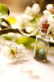 birds nest necklace miniature bottle necklace terrarium necklace
