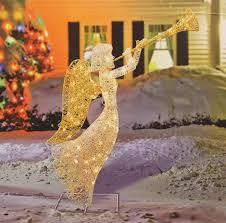 lighted christmas yard angels amazon com 48 glittered trumpeting angel lighted christmas yard