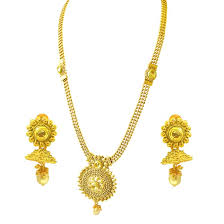 gold necklace with earrings images Traditional round shaped colored stone and gold plated necklace jpg