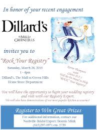 s bridal registry rock your registry event at dillard s in the mall at green