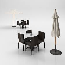 Outside Table And Chair Sets Rattan Chairs Set With Table And Outdoor Umbrella 3d Model Max Obj