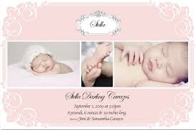 baby birth announcements card with up photo and pink color